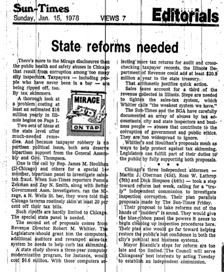 """Chicago Sun-Times article titled """"State Reforms Needed."""" Written in 1978 as part of Pamela Zekman and Zay N. Smith's Mirage Editorial."""