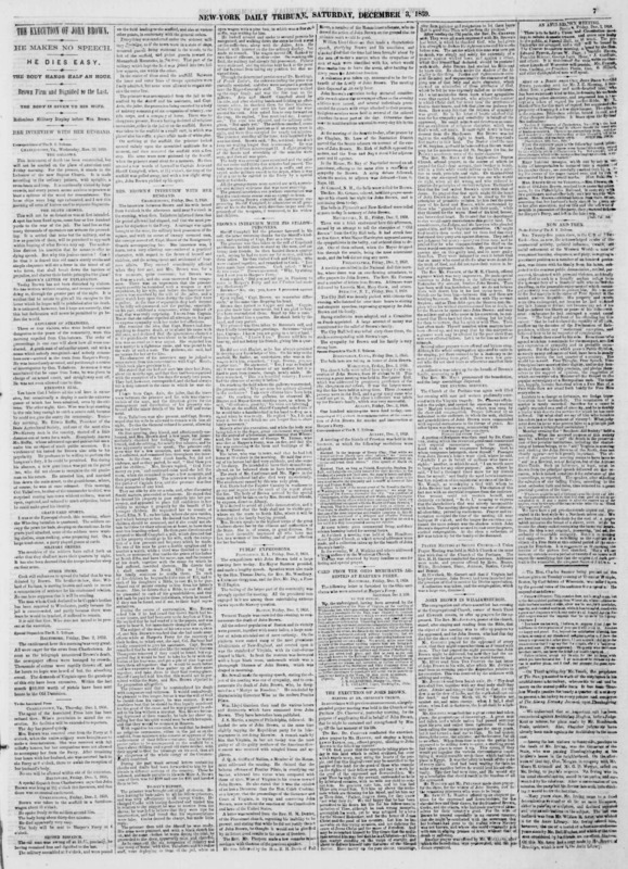"""New York Tribune article titled, """"The Execution of John Brown."""" Byline unsigned."""