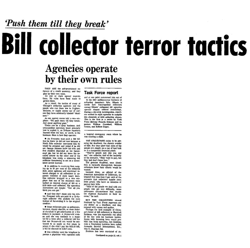 First of the Task Force series by Pamela Zekman, William Crawford, William Gaines and Robert Unger for Bill Collectors.