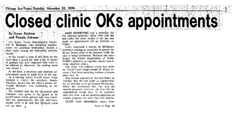 "Chicago Sun-Times article titled, ""Closed Clinic OKs Appointments."" Written by Karen Koshner and Pamela Zekman."