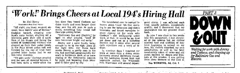 "Washington Post article titled, ""'Work!' Brings Cheers at Local 194's Hiring Hall."" Written by Neil Henry in 1980."