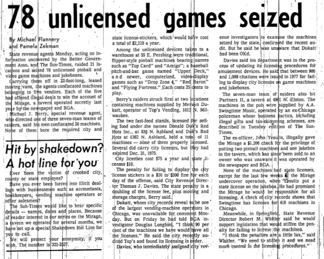 "Chicago Sun-Times article called ""78 unlicensed games seized."" Written by Michael Flannery and Pamela Zekman as part of the Mirage Reaction."