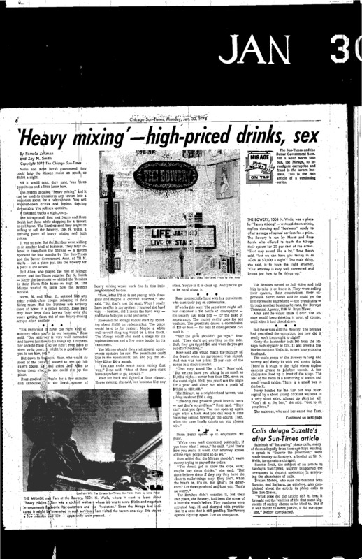 "Chicago Sun-Times article titled, ""'Heavy Mixing' – High-priced Drinks, Sex."" Written by Pamela Zekman and Zay N. Smith as part of the Mirage Tavern sting series."