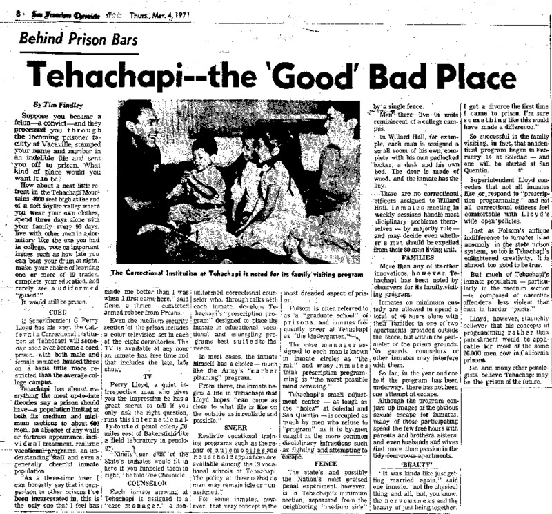 """San Francisco Chronicle article titled, """"Tehachapi -- the 'Good' Bad Place."""" Written by Tim Findley as part of the """"Behind Prison Bars"""" series."""