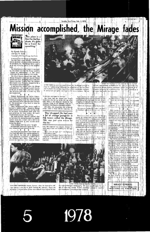 """Chicago Sun-Times article titled, """"Mission Accomplished, the Mirage Fades."""" Written by Pamela Zekman and Zay N. Smith as part of their Mirage Editorial."""