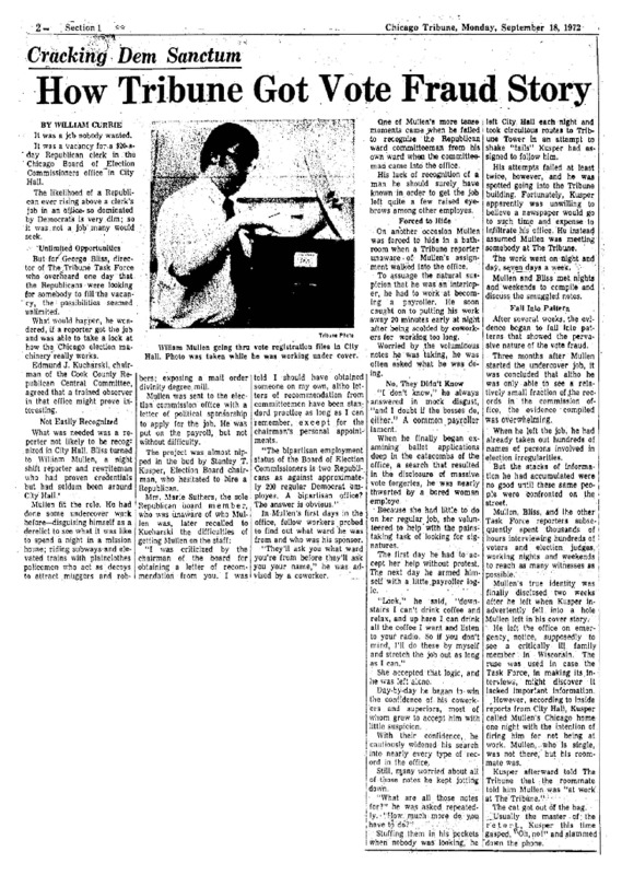 """Chicago Tribune article titled, """"Cracking Dem Sanctum."""" Written by William Currie as part of the Task Force Vote Fraud Investigation."""
