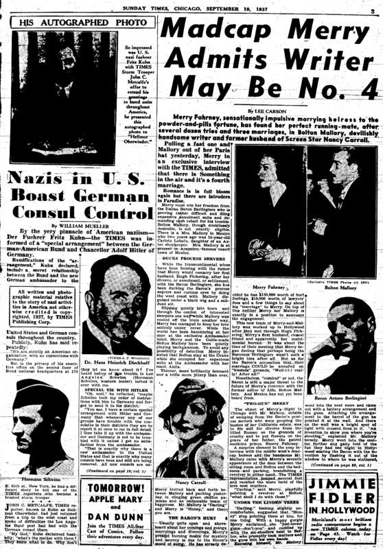 """Chicago Daily Times article titled, """"Nazi in U.S. Boast German Counsul Control."""" Written by William Mueller, John C. Metcalfe, and James J. Metcalfe as part of a series."""