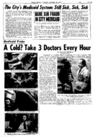 "New York Daily News article titled, ""Medicaid Probe - A Cold? Take 3 Doctors Every Hour."" Written by William Sherman as part of a medicaid fraud investigation series."