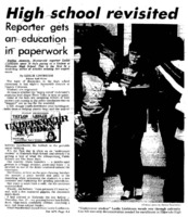 "Albuquerque Tribune article titled, ""High School Revisited."" Written by Leslie Linthicum as part of her ""Undercover Students"" series."