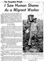 "New York World Telegram and Sun article titled, ""I Saw Human Shame as a Migrant Worker."" Written by Dale Wright as part of the Forgotten People series."