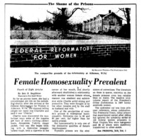 "Washington Post article titled, ""Female Homosexuality Prevalent."" Written by Ben Bagdikian as part of the Shame of the Prisons series."