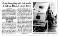 "Washington Post article titled, ""Drug Smuggling and Hot Goods: A Ride on Prison Visitors' Buses."" Written by Athelia Knight as part of the Lorton series."