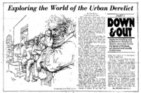 "Washington Post article titled, ""Exploring the World of the Urban Derelict."" Written by Neil Henry in 1980."