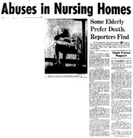 "Chicago Tribune article titled, ""Abuses in Nursing Homes."" Written as part of the nursing home exposé."