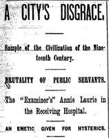 "San Francisco Examiner article titled, ""A City's Disgrace."" Written by Annie Laurie."