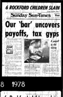 "Chicago Sun-Times article titled, -Our Bar Uncovers Payoffs, Tax Gyps."" Written by Pamela Zekman and Zay N. Smith as part of the Mirage tavern sting series."