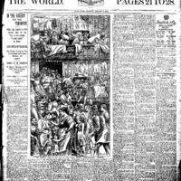 'The World' newspaper article with graphic of crowded tenements.